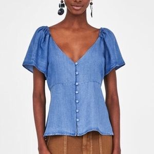 Zara Vneck Chambray top